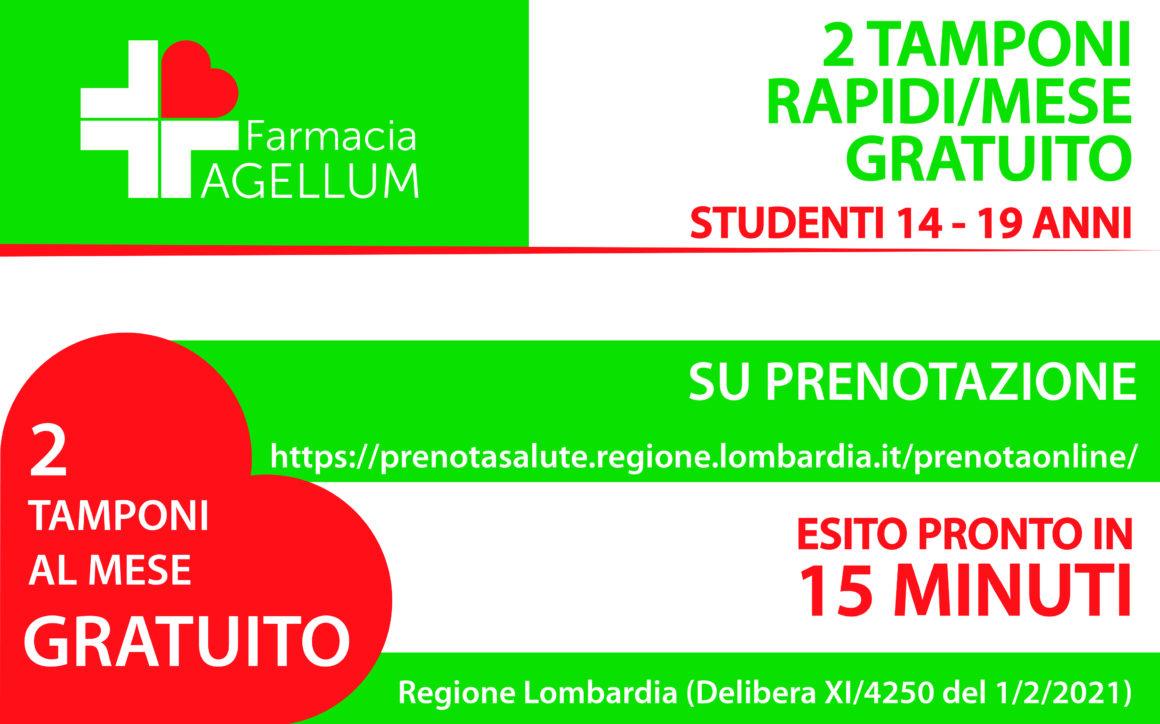 2 Tamponi rapidi/mese gratuito per studenti 14 – 19 anni
